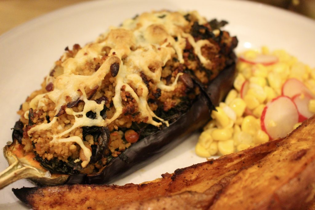 Stuffed Aubi & Sweet Potato Wedges