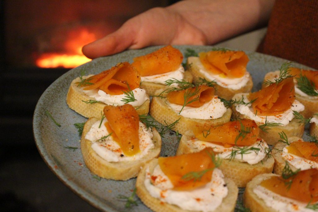 "Smoked ""Salmon"" & Cream Cheese Crostini's"