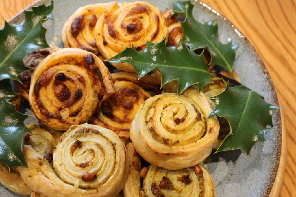Red and Green Pesto Pinwheels