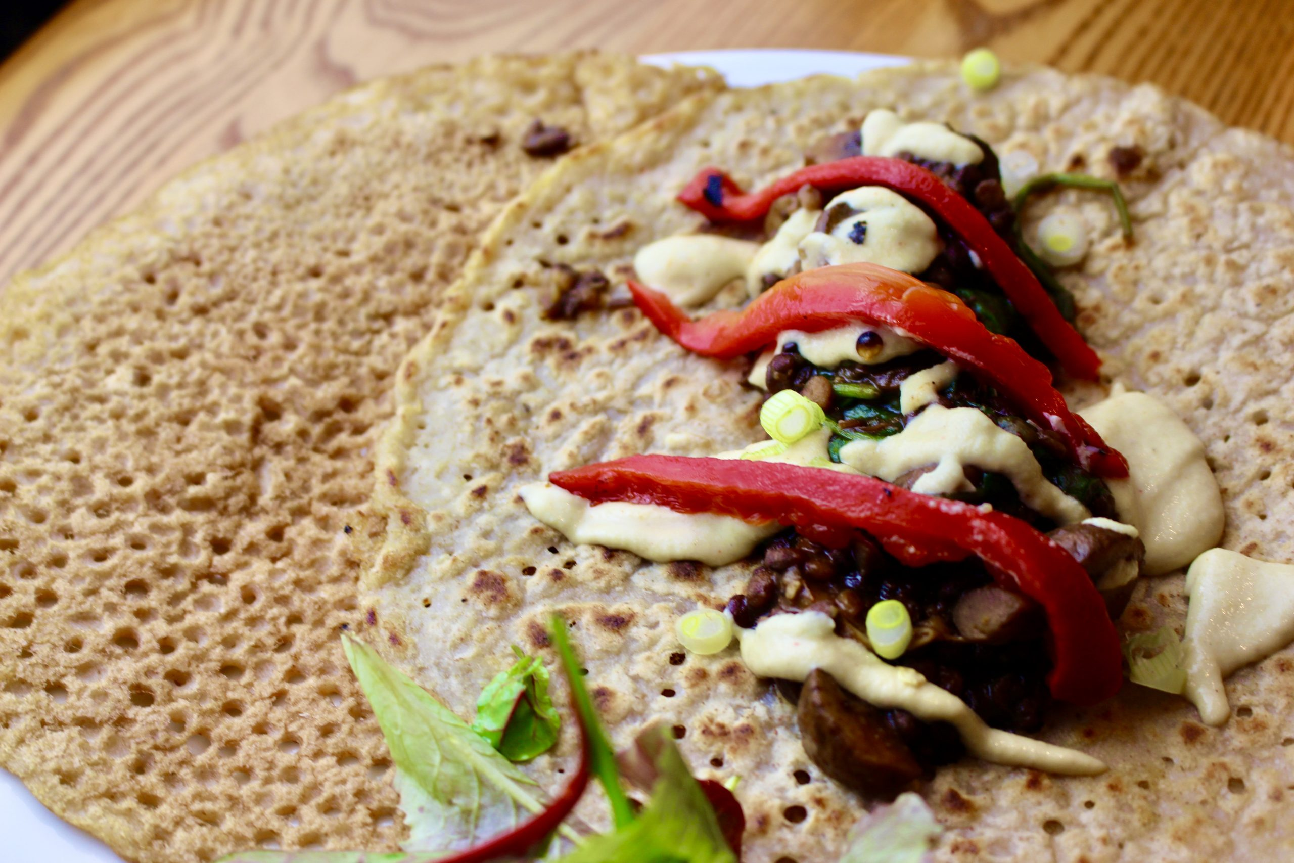Buckwheat Crepes with Baharat spiced Mushrooms
